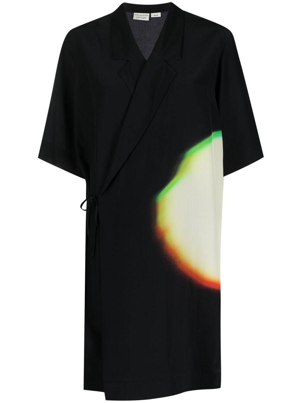 Top avvolgente in seta nera con stampa spotlight con scollo a V DRIES VAN NOTEN | Camicie | CALTA-10713-2091005