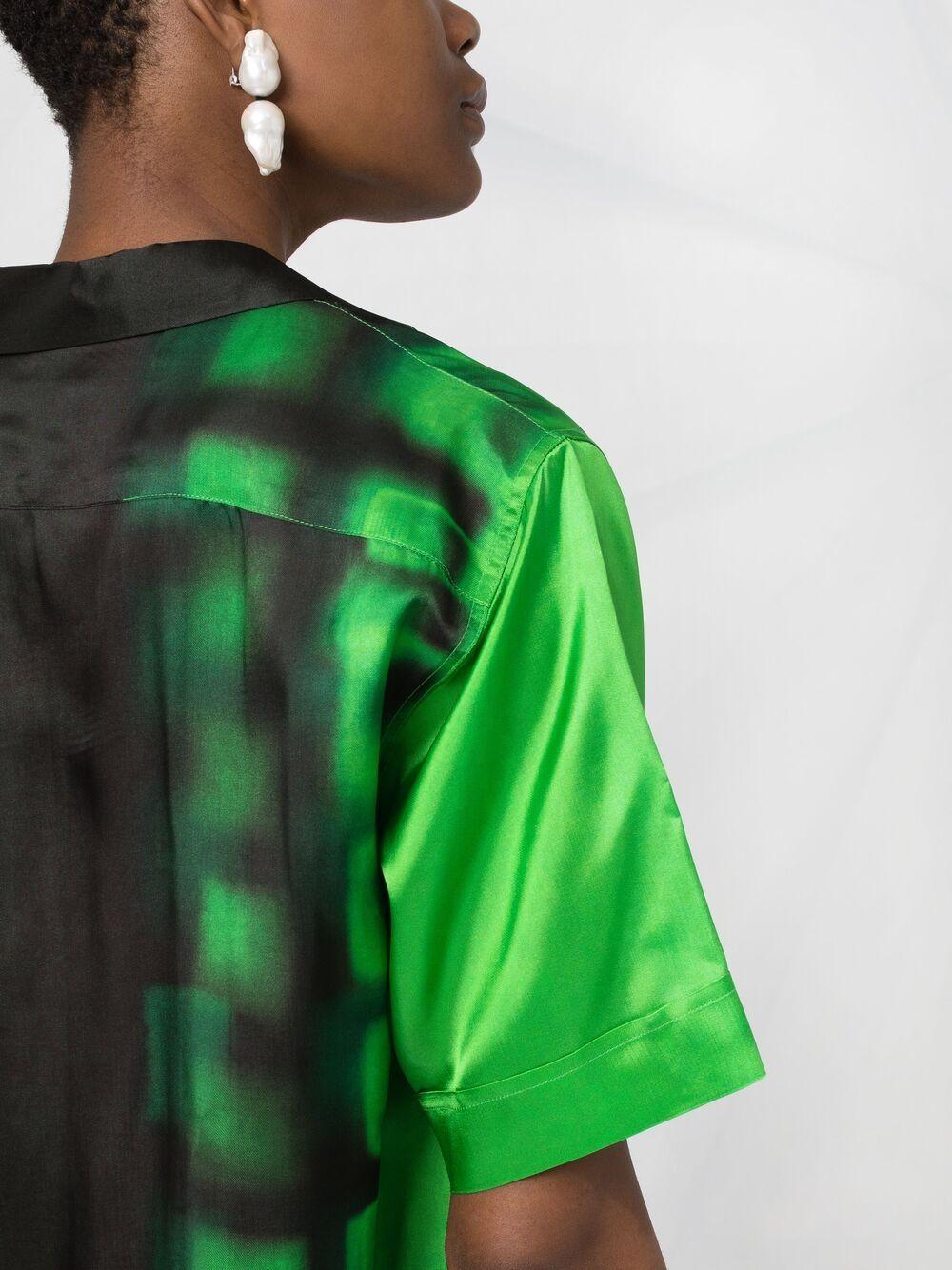 Camicia a maniche corte stampata verde sfumata DRIES VAN NOTEN | Camicie | CLIVE-2068-10784604