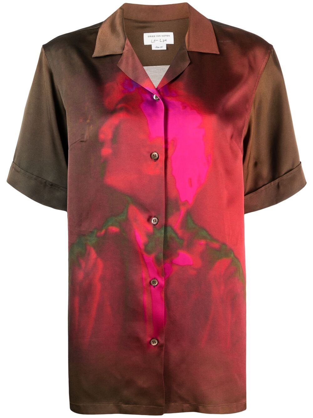 Brown graphic print shirt featuring graphic print DRIES VAN NOTEN |  | CLIVE-2147-10784977