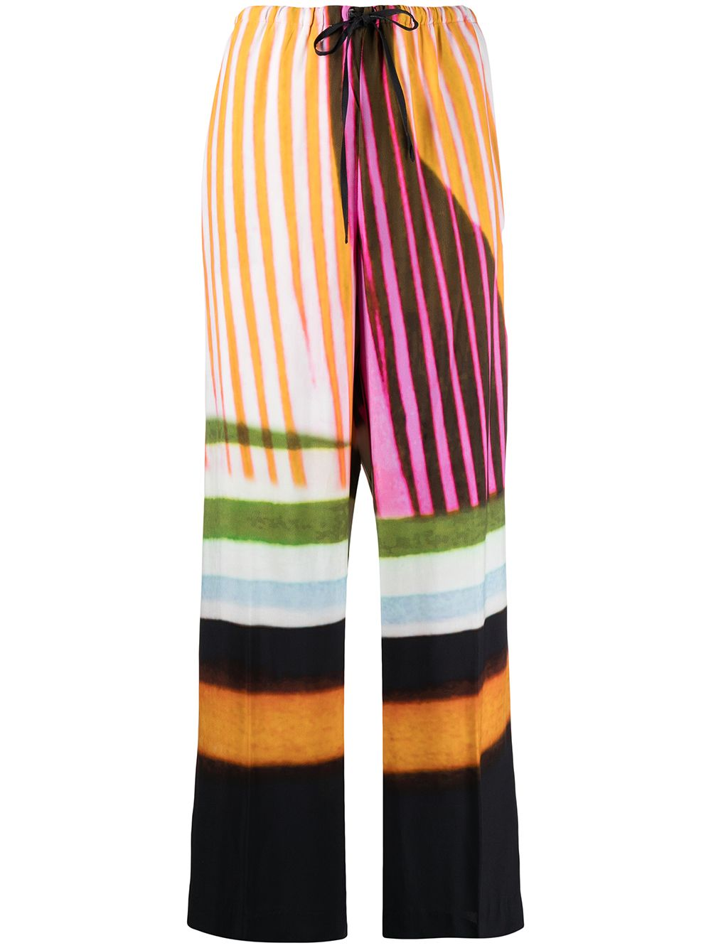 Pantaloni palazzo neri e multicolor in misto cotone a vita alta DRIES VAN NOTEN | Pantaloni | PUVIS-2048-10969900