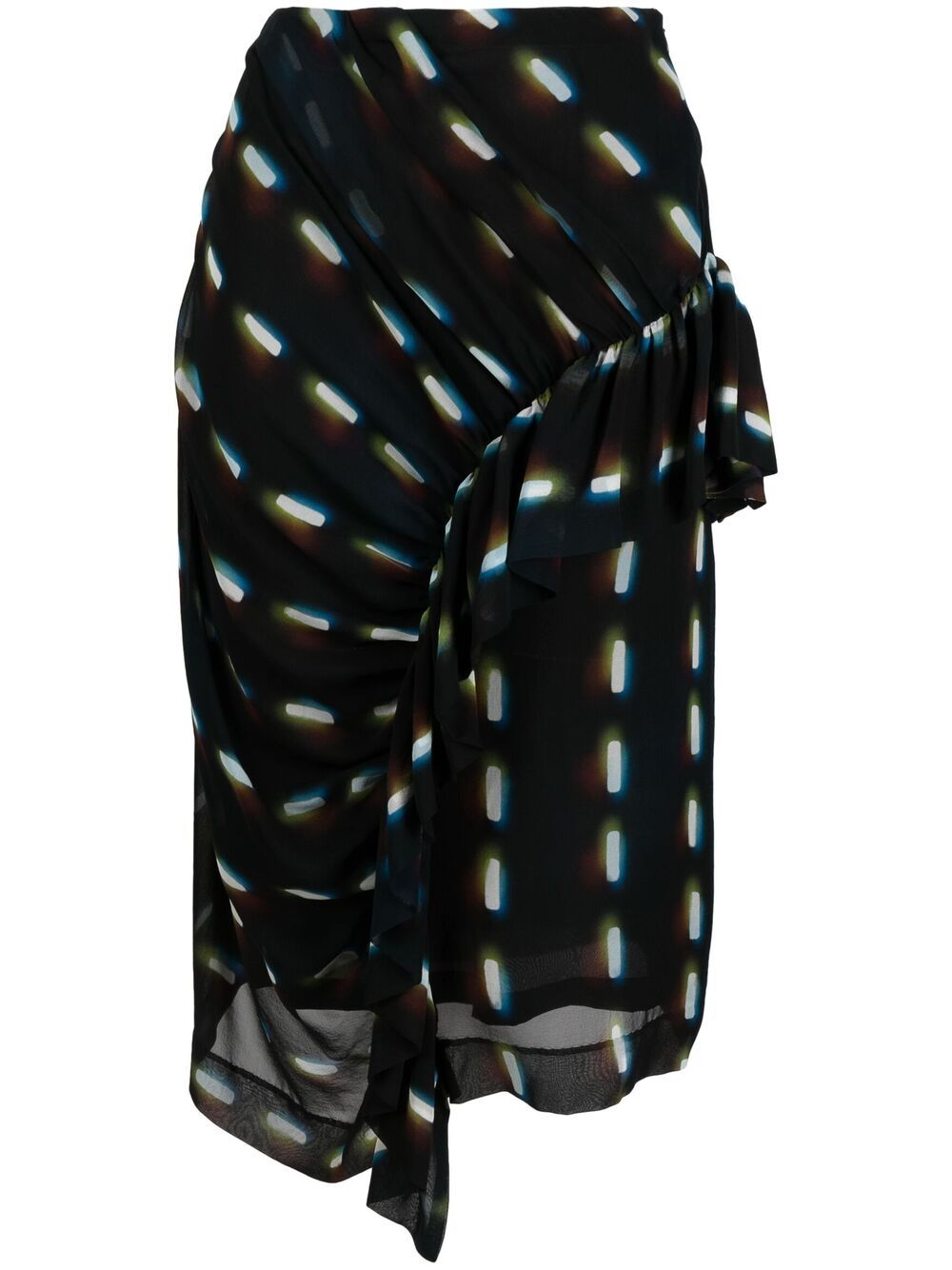 Gonna in seta nera con dettagli arricciati con stampa grafica DRIES VAN NOTEN | Gonne | SYVAN-2088-10885900