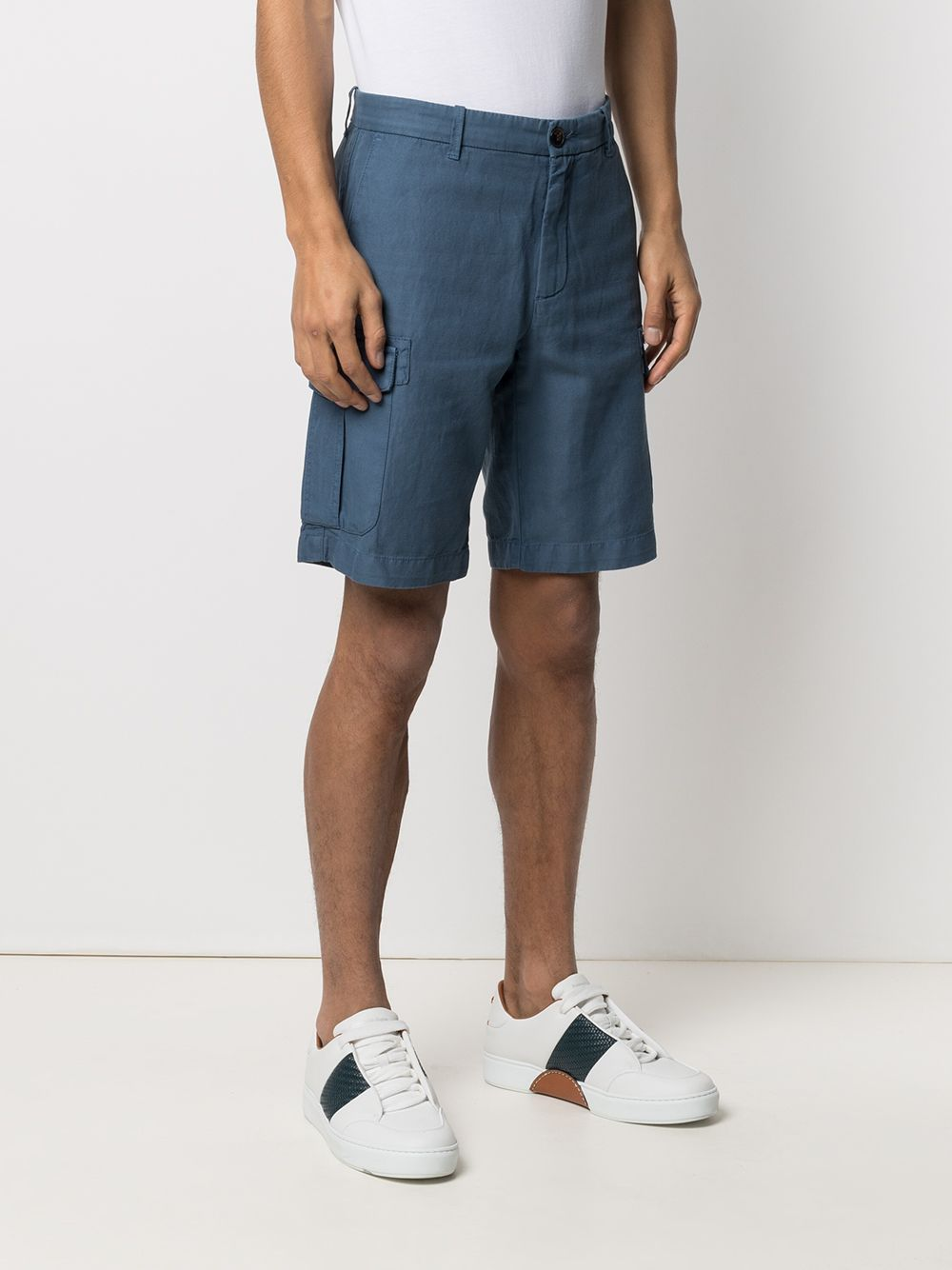 Blue cotton and linen cargo shorts  ELEVENTY |  | C70BERC02-TET0C02908