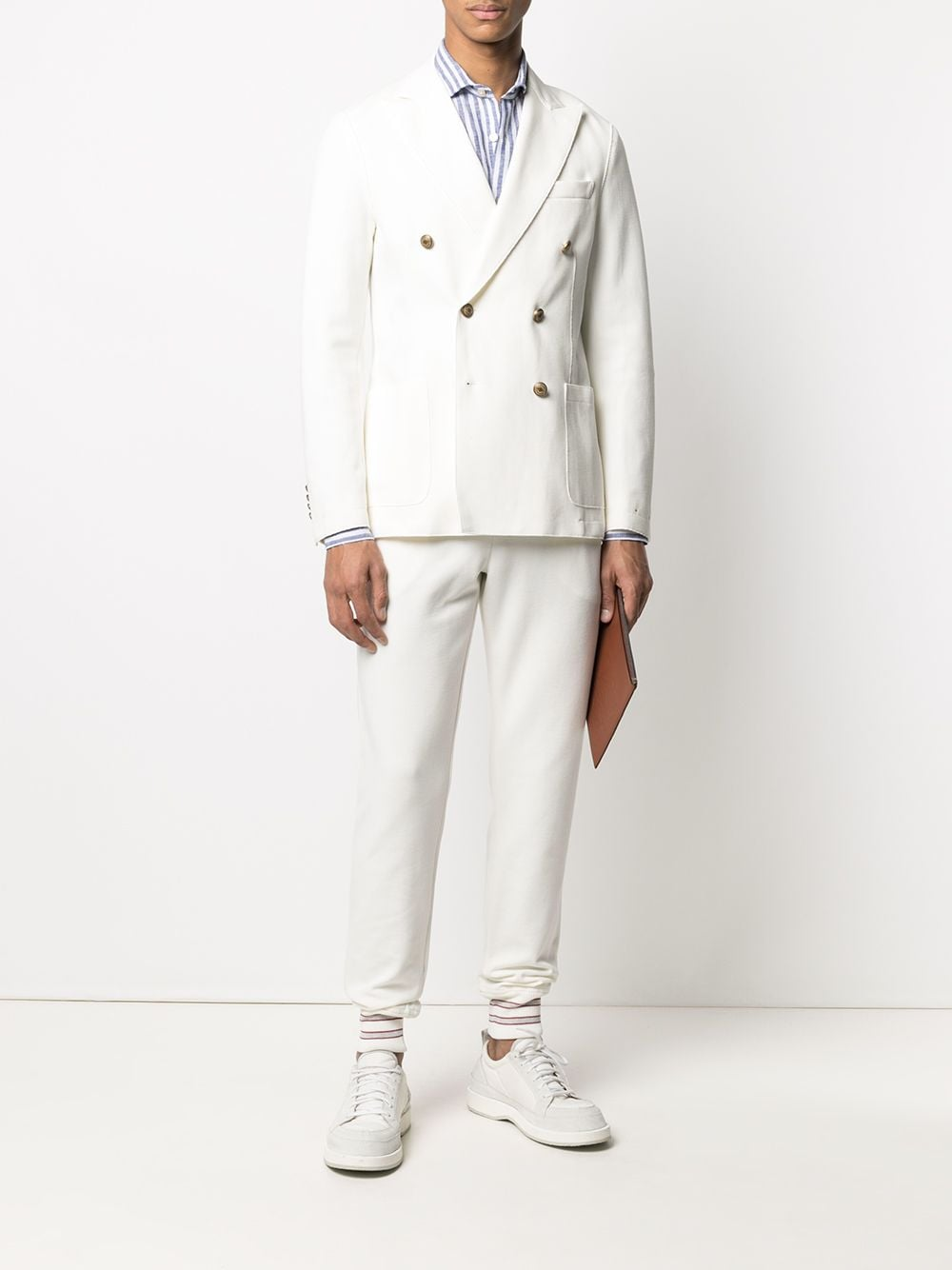 White double-breasted blazer featuring two front patch pockets ELEVENTY |  | C70GIAA02-JAC2500101