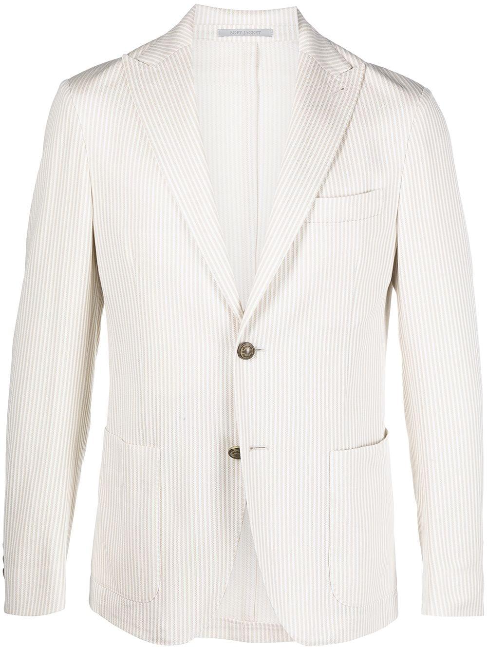 Blazer monopetto a righe in cotone bianco sporco con rever classico ELEVENTY | Giacche | C70GIAA05-TES0C11602