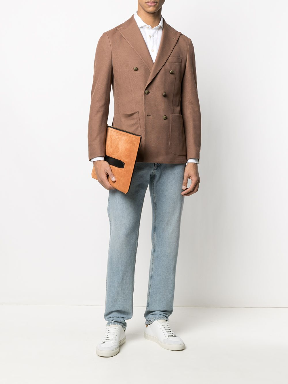 Brown cotton double-breasted blazer featuring notched lapels ELEVENTY      C70GIAA06-TES0C09204