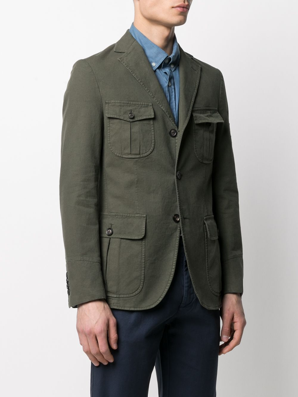 Military green cotton blend patch pocket blazer jacket  ELEVENTY |  | C70GIAC03-TET0C03107