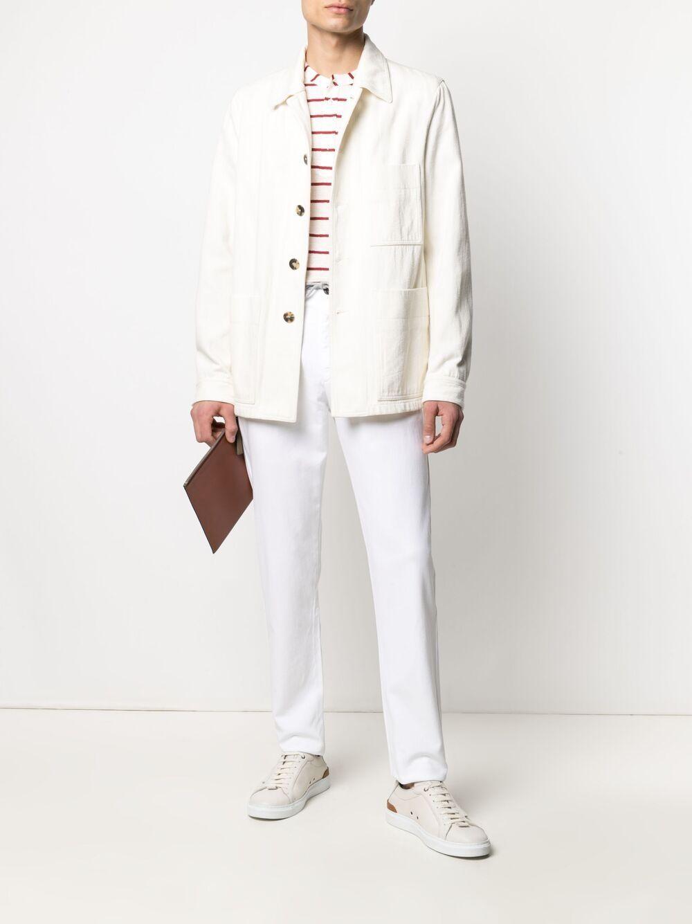 Daisy-white stretch-cotton box-pleat slim-fit trousers  ELEVENTY |  | C70PANC01-TET0C02800