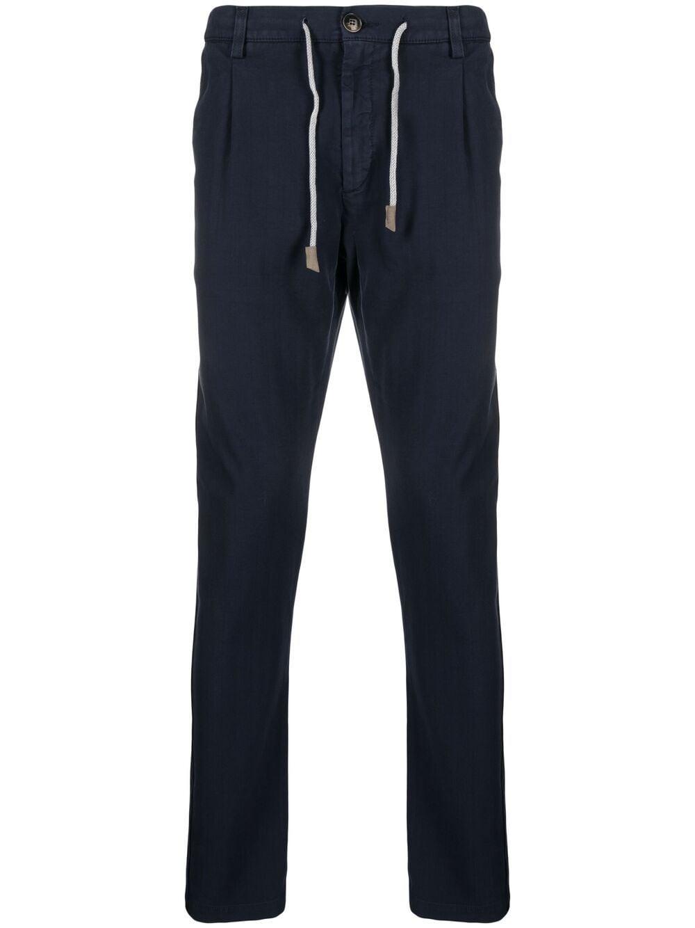 Pantaloni slim fit a vita media in cotone elasticizzato blu navy ELEVENTY | Pantaloni | C70PANC01-TET0C02811