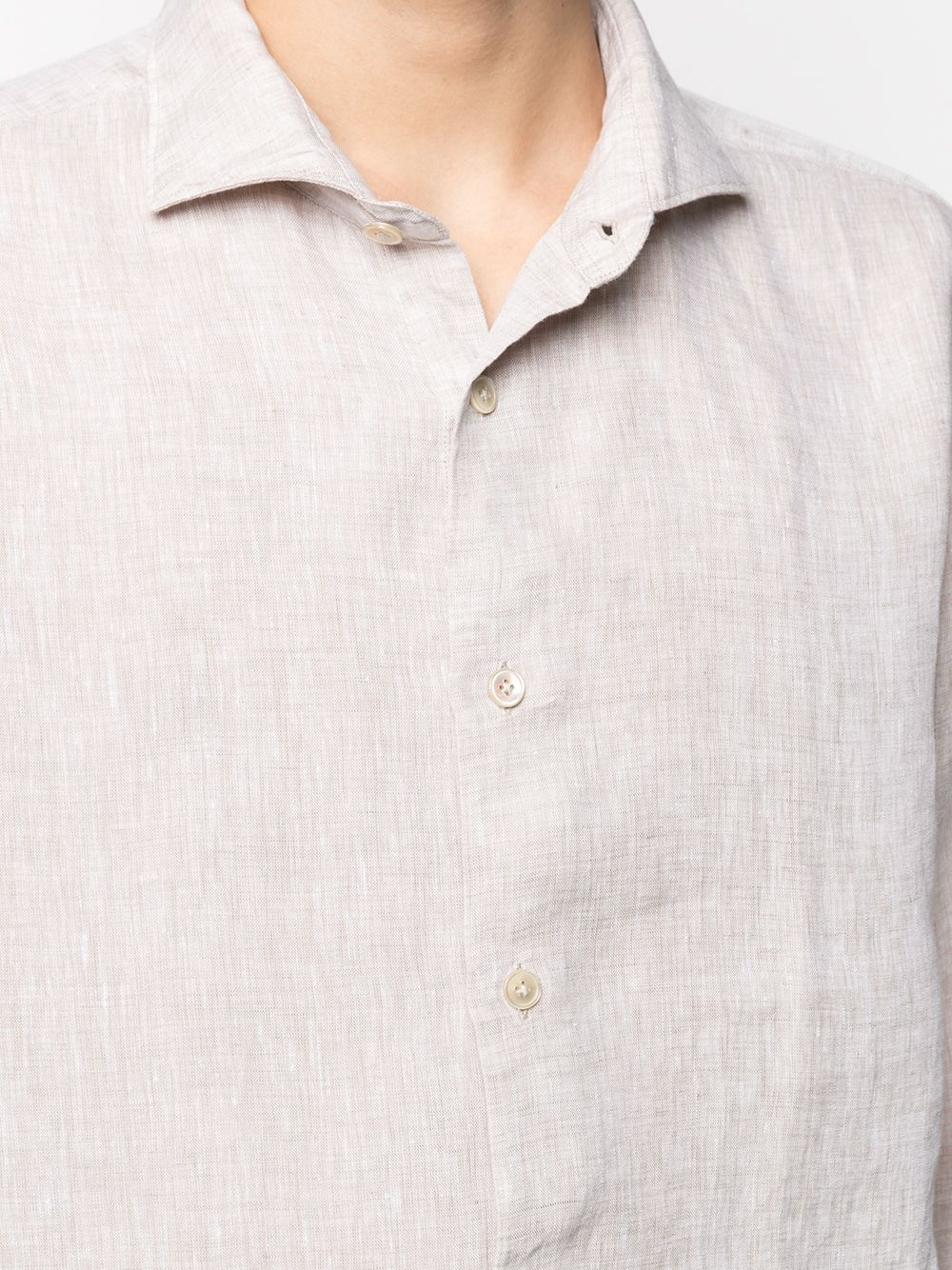 Neutral linen long-sleeve shirt featuring classic collar ELEVENTY |  | C75CAMA05-TES0A00102