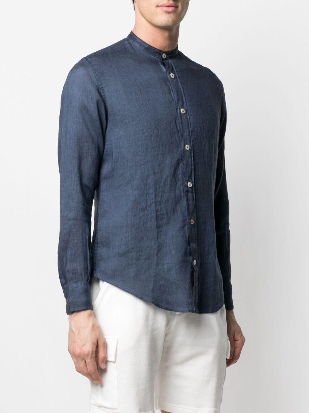 Blue linen band collar shirt  ELEVENTY      C75CAMA10-TET0A01811N