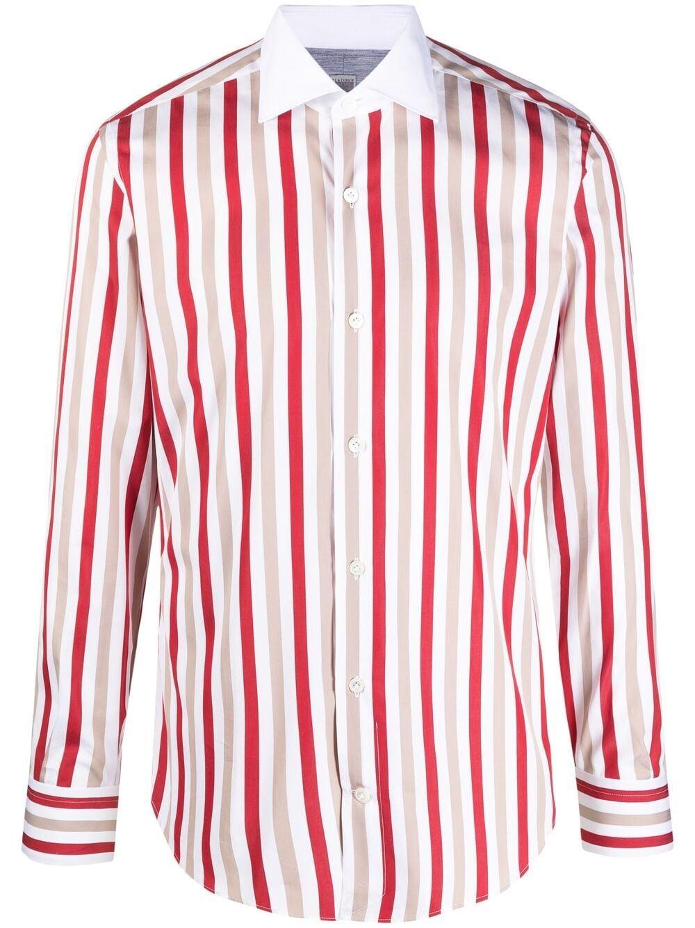 Camicia con stampa a righe verticali in cotone bianco, beige e rosso ELEVENTY | Camicie | C75CAMA19-TES0C06318