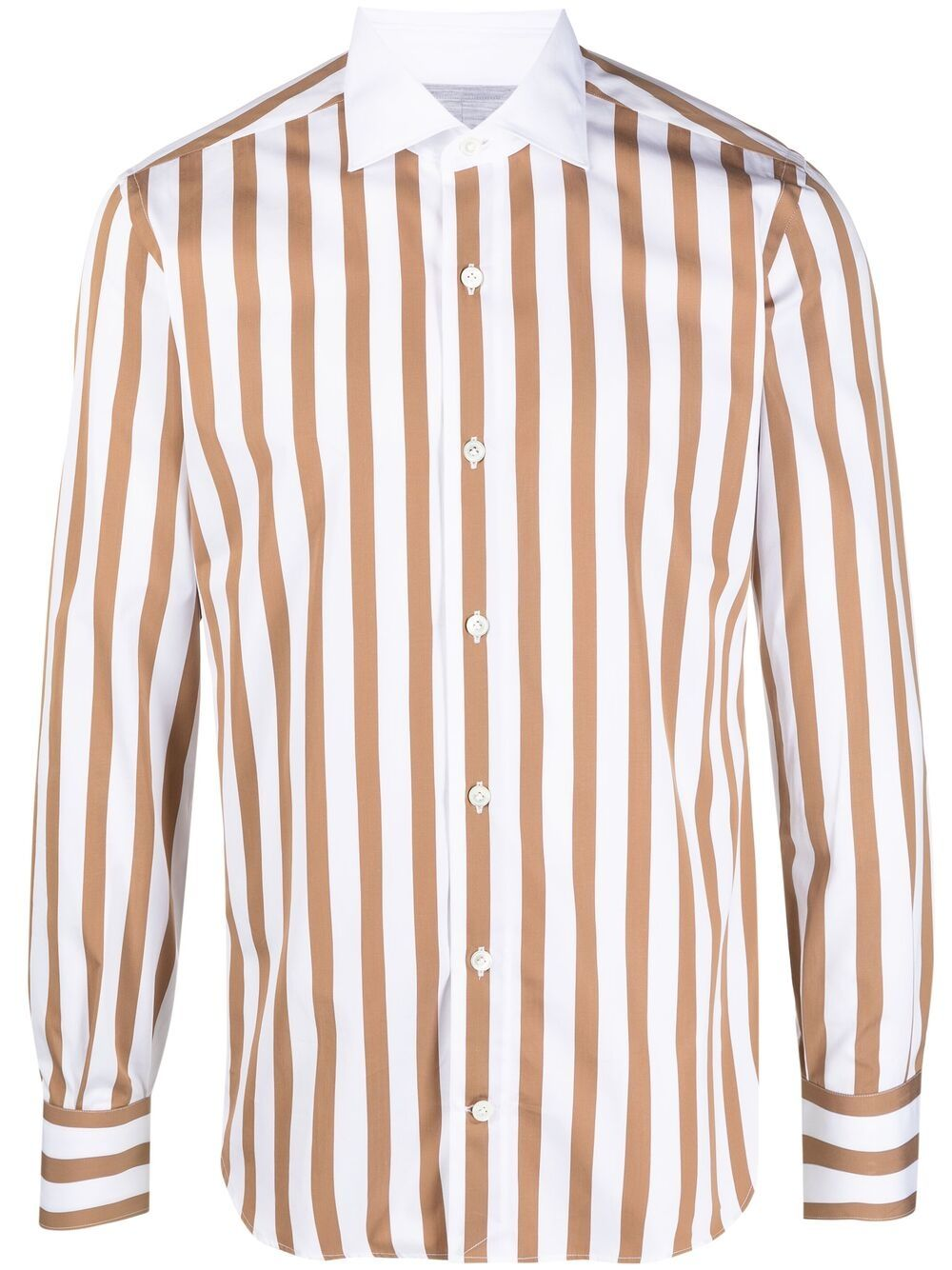 White and camel-brown vertical striped long-sleeved shirt  ELEVENTY      C75CAMA19-TES0C06605