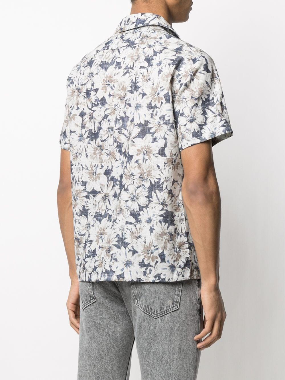 Blue cotton and linen floral print shirt  ELEVENTY |  | C75CAMA26-TES0C07108