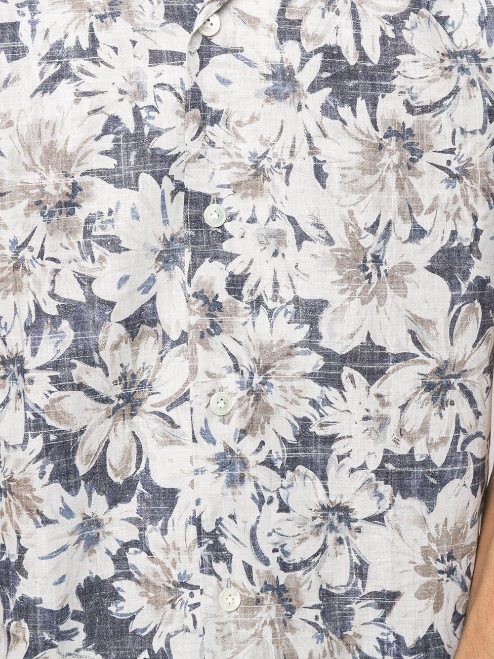 Camicia blu in cotone e lino con stampa floreale ELEVENTY | Camicie | C75CAMA26-TES0C07108