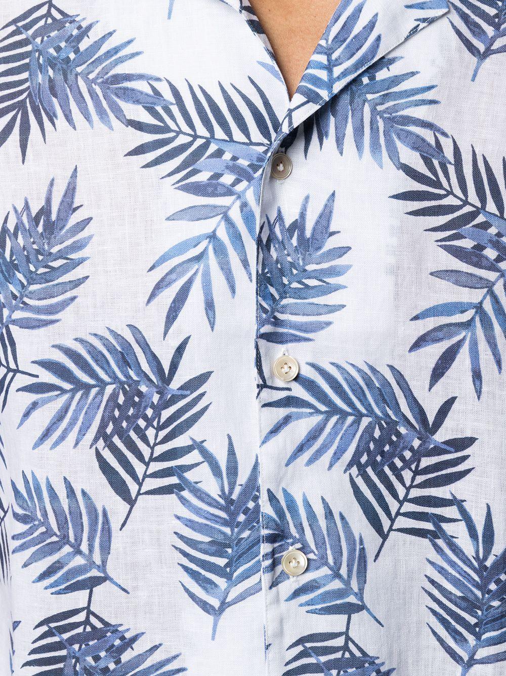 White and blue linen palm leaf print shirt   ELEVENTY |  | C75CAMC07-TES0C02711