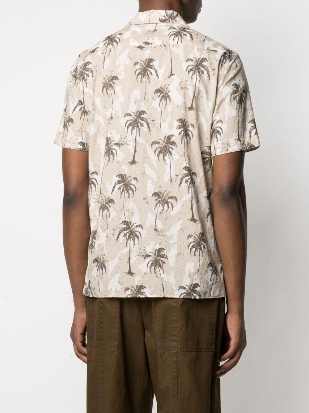 Camicia in stampa palme tropicali in cotone beige e bianco ELEVENTY | Camicie | C75CAMC07-TES0C03702