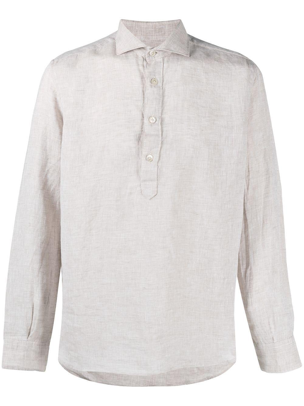 Sand linen Henley collar shirt  ELEVENTY |  | C75CAMC08-TES0A00102