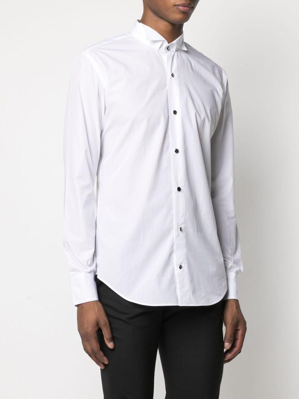 Camicia a maniche lunghe in cotone bianco con colletto classico. ELEVENTY | Camicie | C75CAMC10-TES0B01801