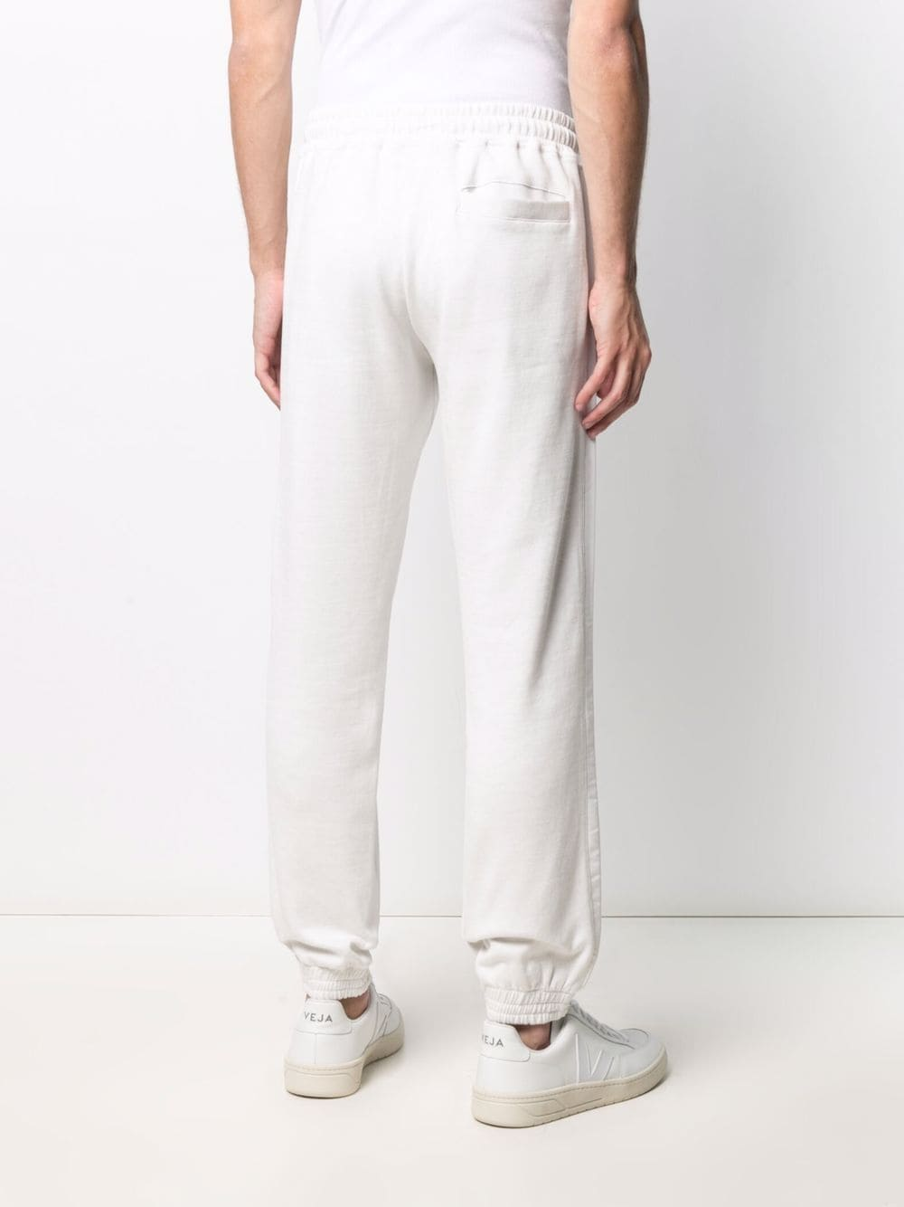 Pantaloni sportivi a righe tono su tono in cotone bianco ELEVENTY | Pantaloni | C75FELC13-TES0C17901-01