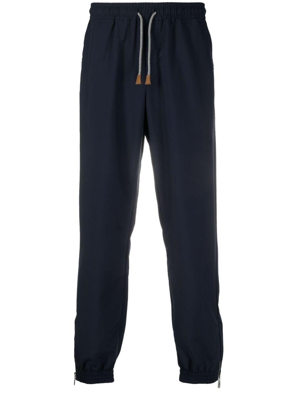 Blue wool ankle-zip track pants  ELEVENTY      C75FELC15-TES0C18111-01