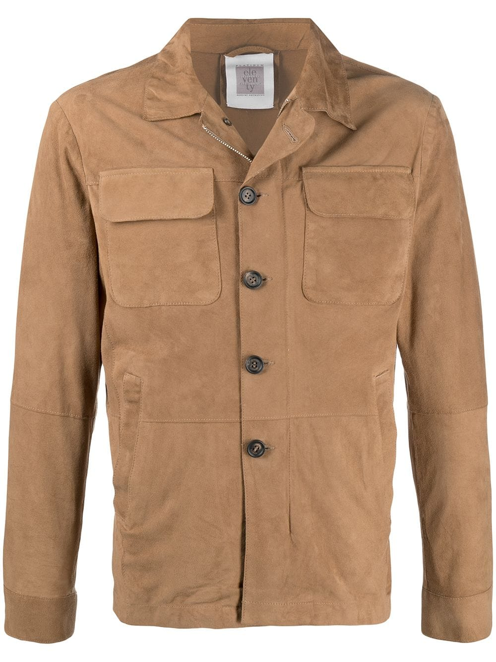 Brown goatskin and suede classic shirt jacket  ELEVENTY |  | C75GBTC22-PEL0C00803