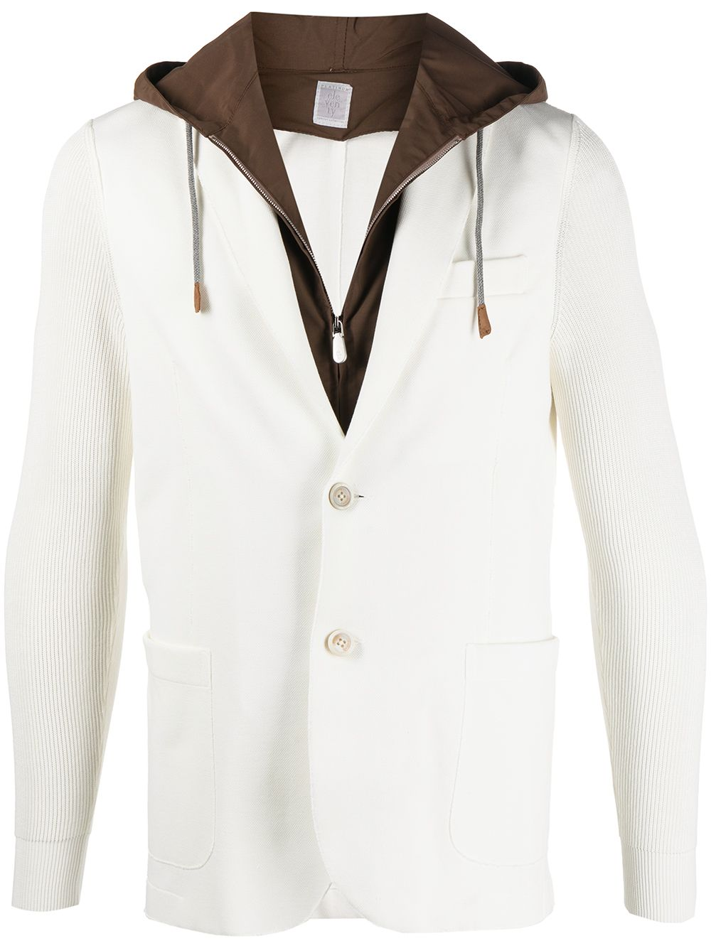 White and brown cotton blend hooded single-breasted blazer  ELEVENTY |  | C76GIAC05-TES0C16701