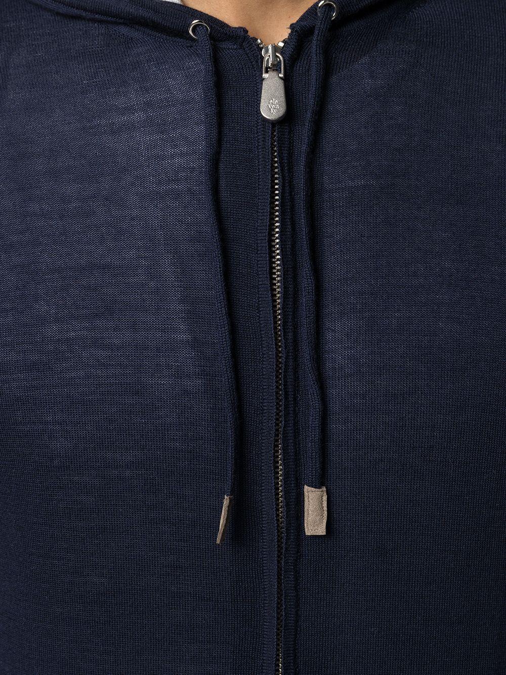 Felpa blu navy in lana con cappuccio grigio ELEVENTY   Cardigan   C76MAGC72-MAG2400311