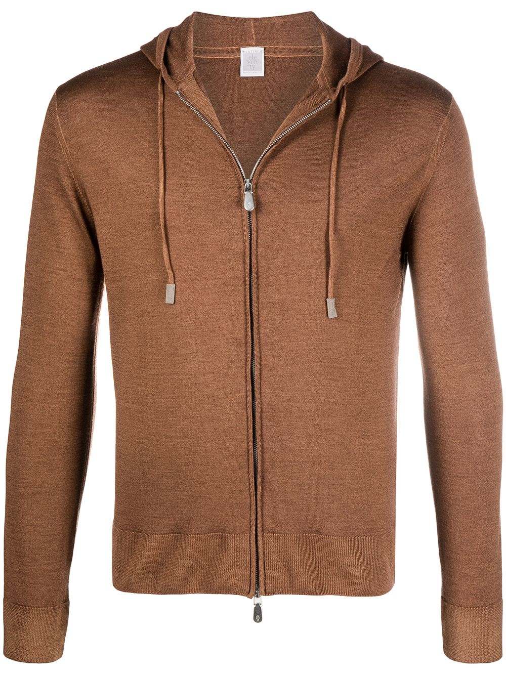 Camel and brown silk and wool zip-up long-sleeve hoodie  ELEVENTY |  | C76MAGC76-MAT0C00304