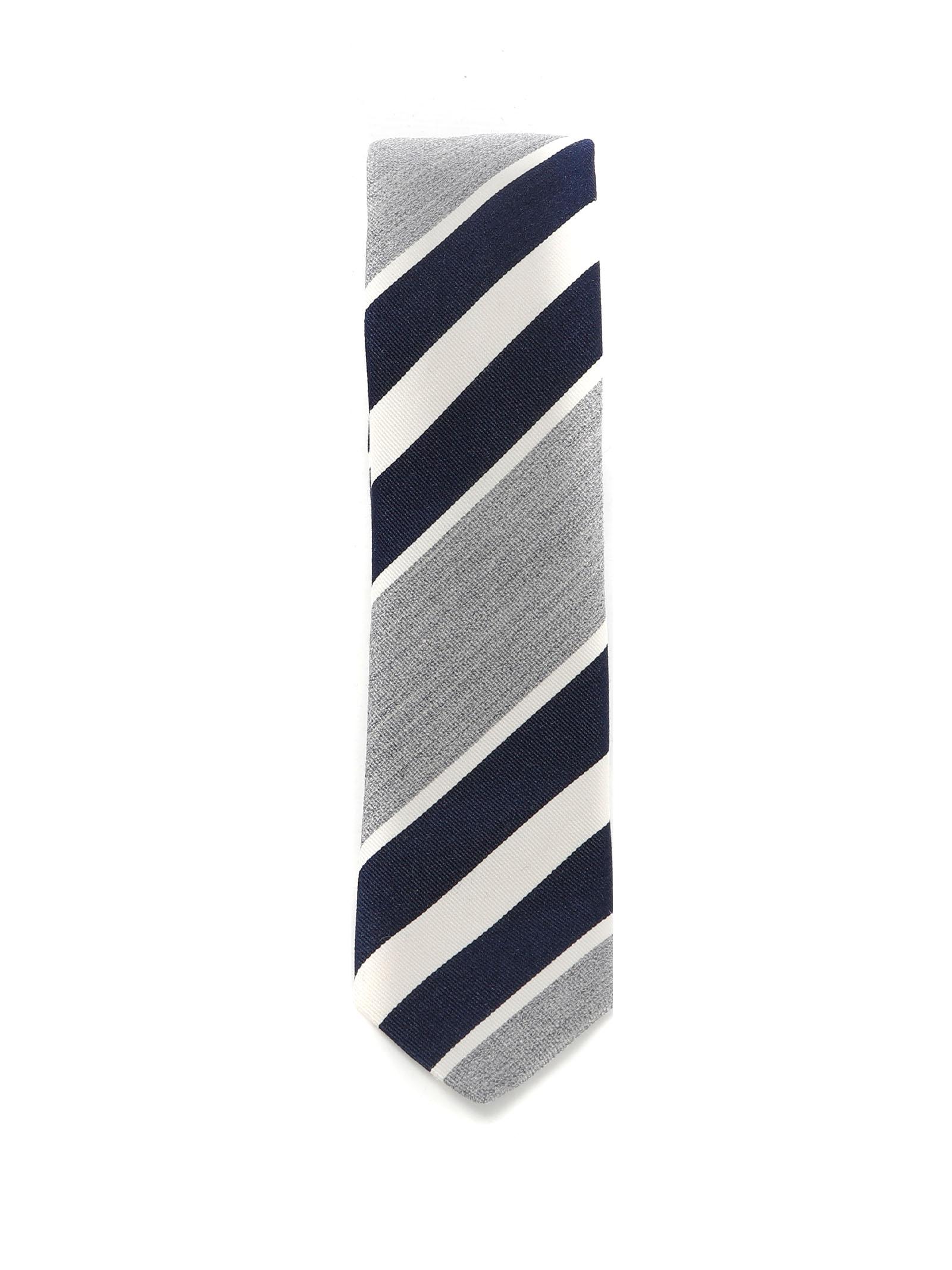 Cravatta blu navy, grigia e bianca in cotone e seta ELEVENTY | Cravatte | C77CRAA01-CRA0C03011