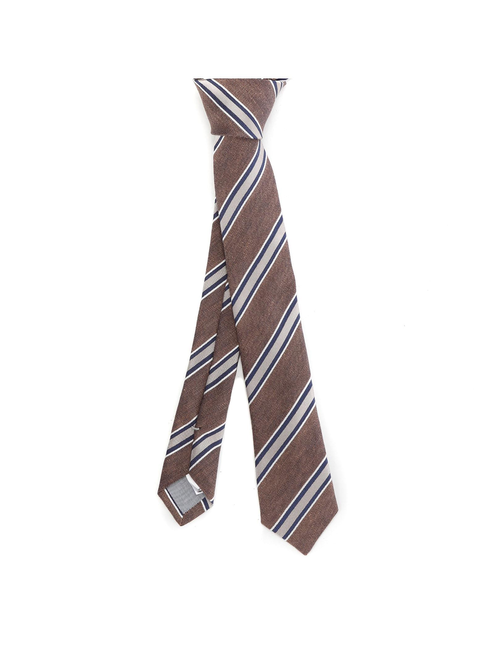 Brown silk and linen diagonal-stripe tie  ELEVENTY |  | C77CRAA01-CRA0C03105