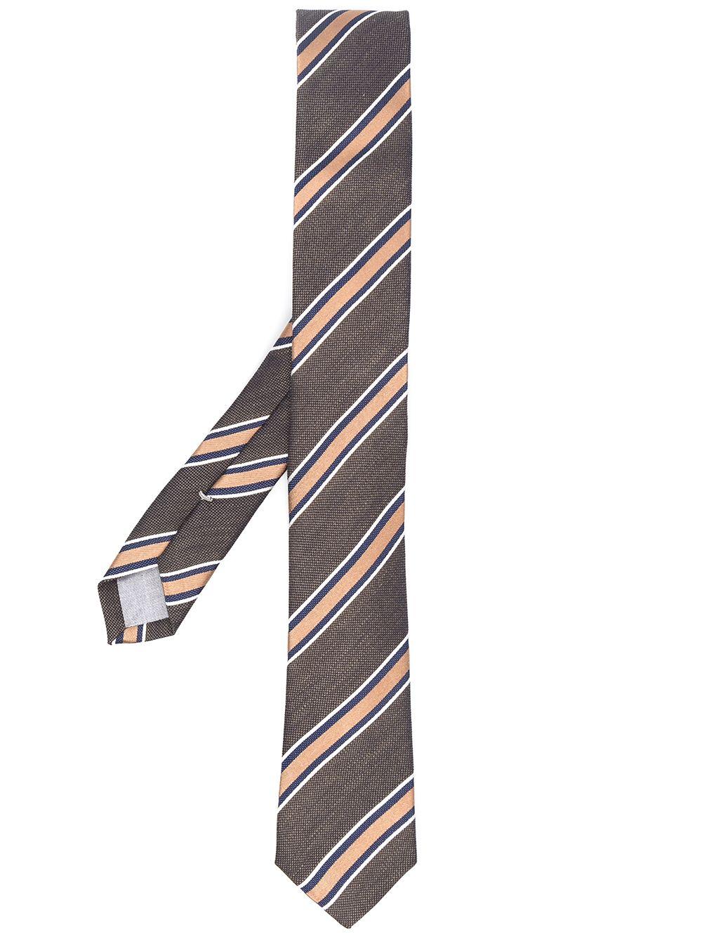Cravatta a righe diagonali in seta verde e rosa ELEVENTY | Cravatte | C77CRAA01-CRA0C03107