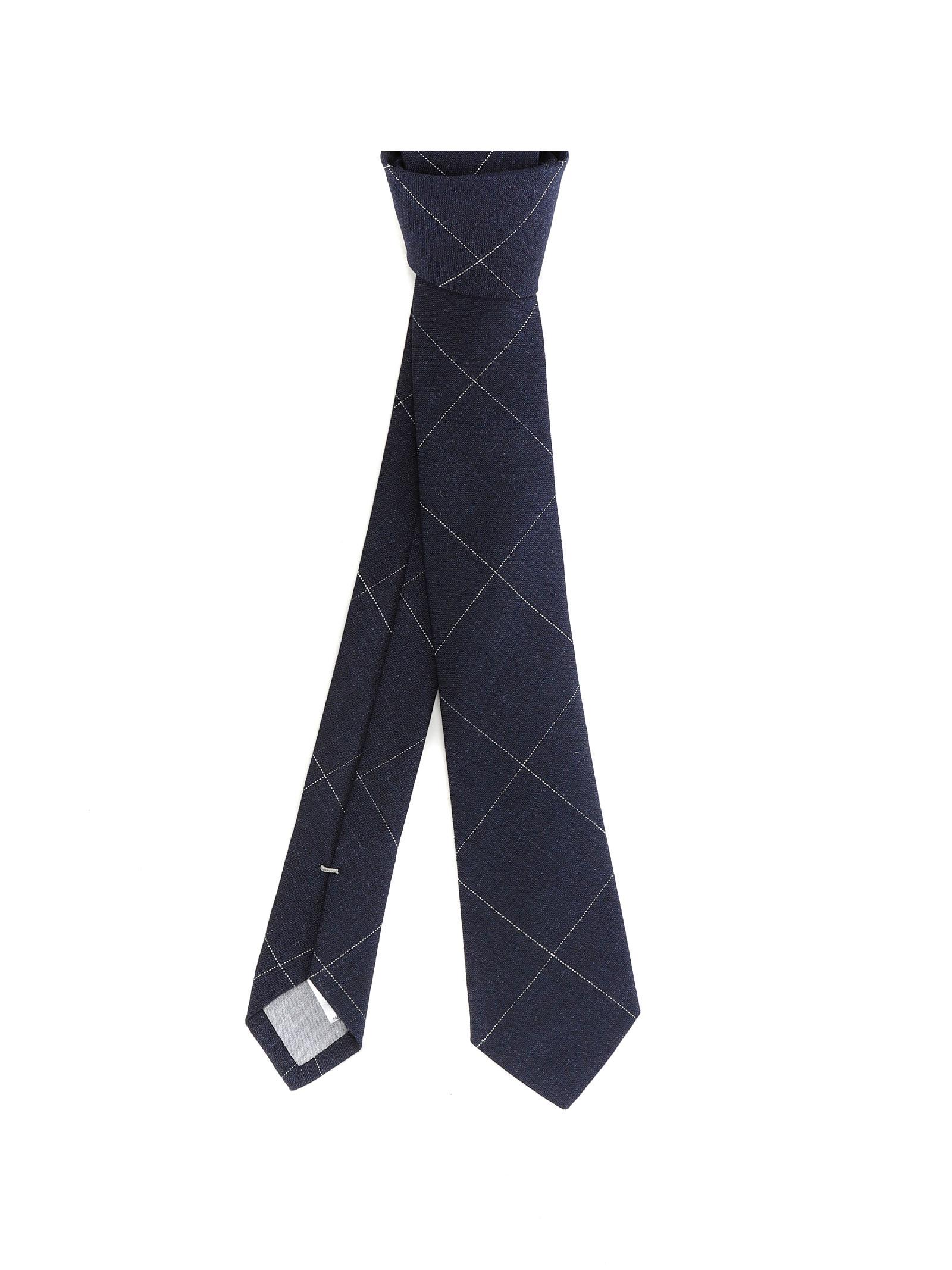 Blue linen check pattern tie  ELEVENTY |  | C77CRAA01-CRA0C03211