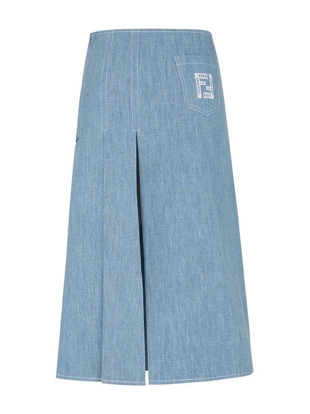Gonna in denim di cotone blu con ricamo FF FENDI | Gonne | FLQ542-AFLMF1D3B