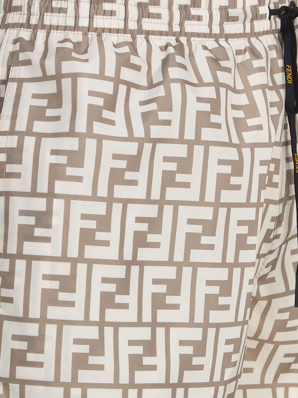 Costume da bagno sabbia in cotone con stampa FF Fendi all over FENDI   Costumi   FXB077-AGBQF0UBY