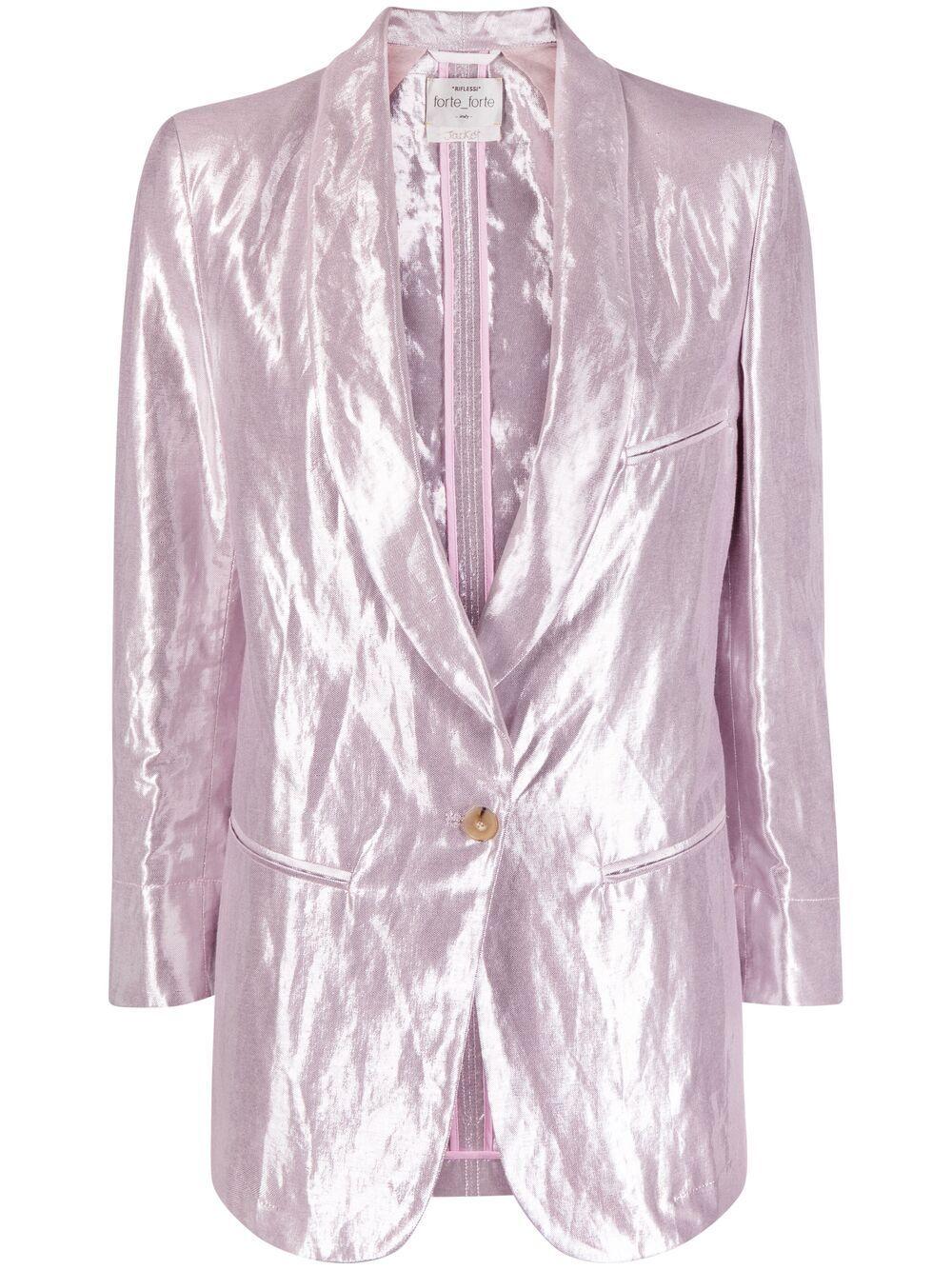 Blazer monopetto in cotone e lino rosa pastello con riflessi metallizzati FORTE_FORTE | Giacche | 8205CONCHIGLIA