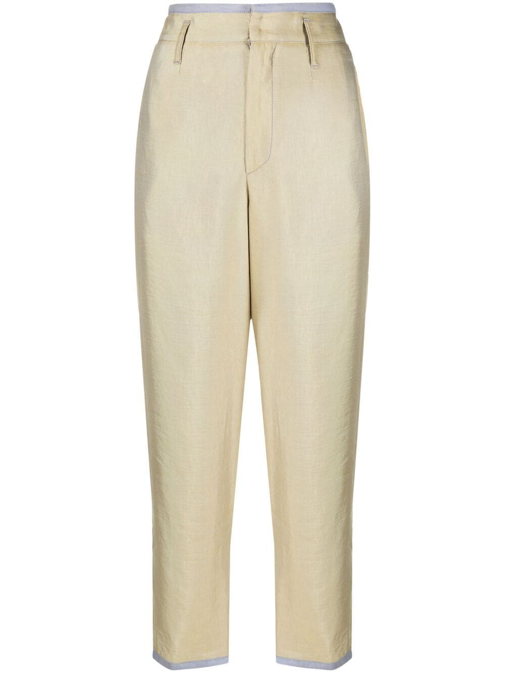 Gold coloured cotton high waist cropped trousers  FORTE_FORTE |  | 8209CEDRO