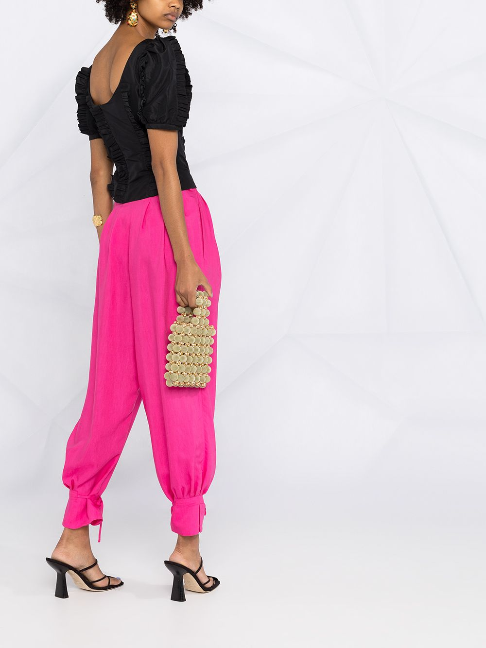 Pink viscose tapered balloon-leg trousers  FORTE_FORTE |  | 8218PINK SPIRIT