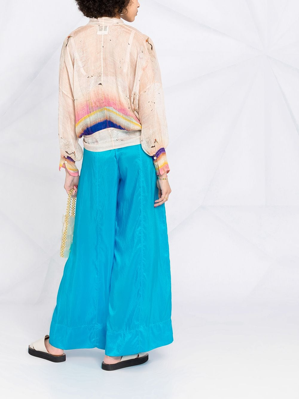 Blue silk wide leg drawstring trousers  FORTE_FORTE      8230MARE