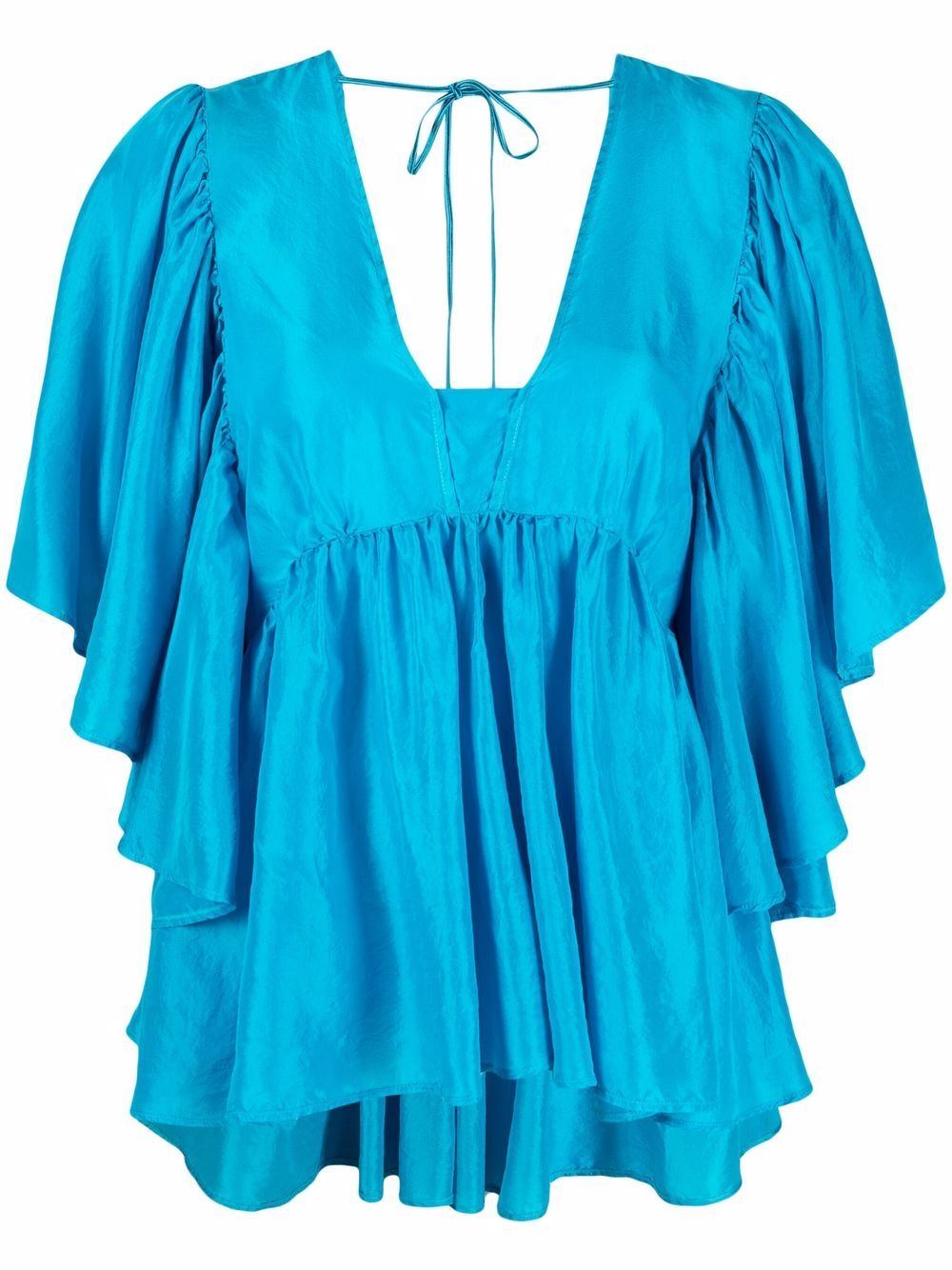 Mare blue silk short-sleeved blouse featuring ruffled detailing FORTE_FORTE |  | 8237MARE