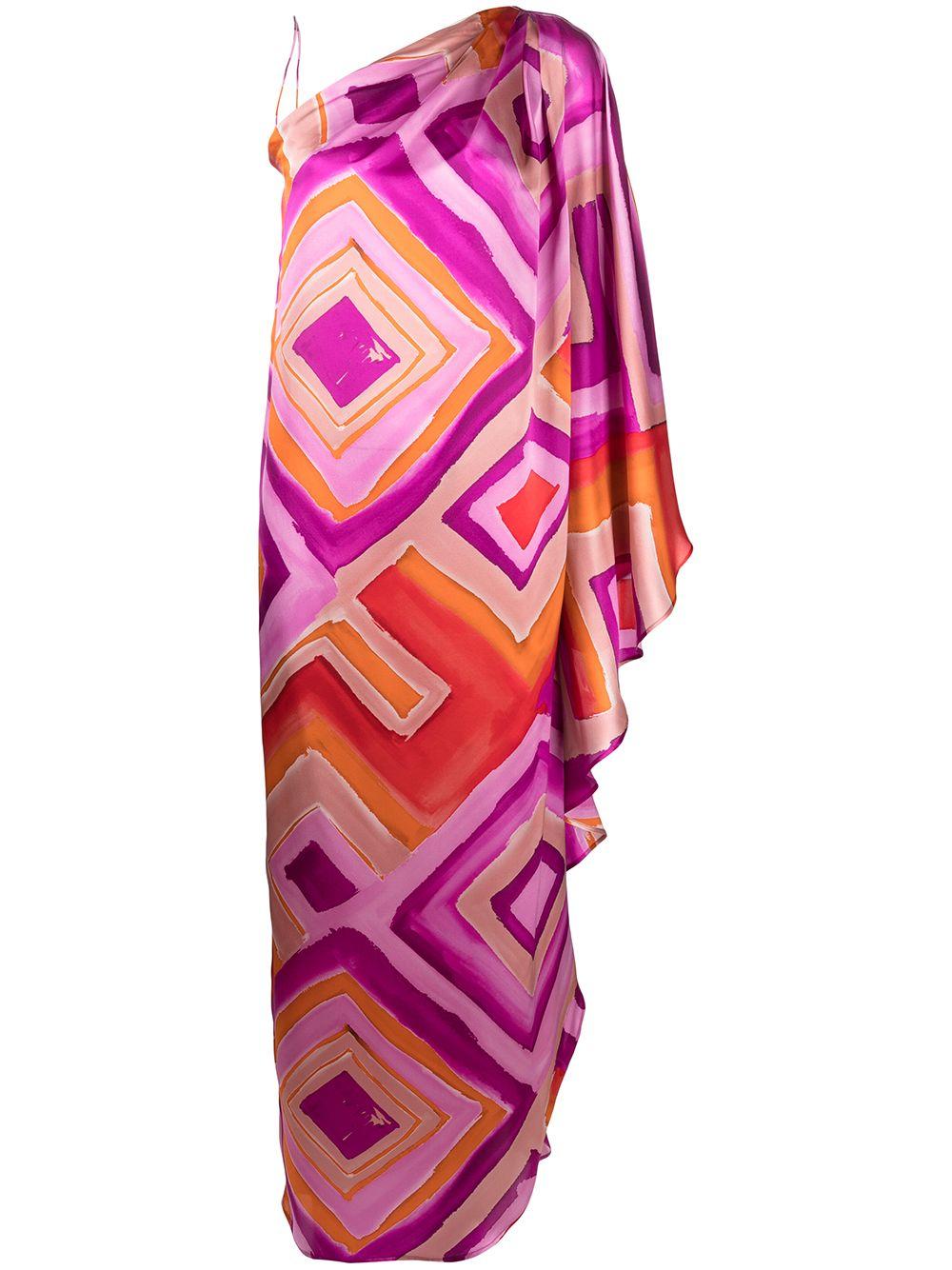 Abito monospalla in seta con stampa pittorica arancione e rosa GIANLUCA CAPANNOLO | Abiti | 21EA1159-350 ANNOUK119761