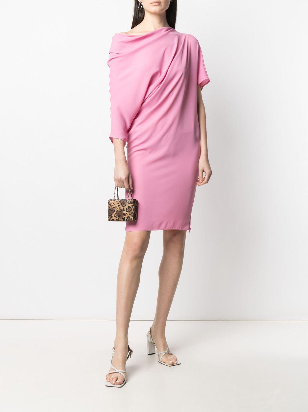 Abito rosa drappeggiato con maniche asimmetriche e dettagli arricciati GIANLUCA CAPANNOLO | Abiti | 21EA1167-250 MAJA257