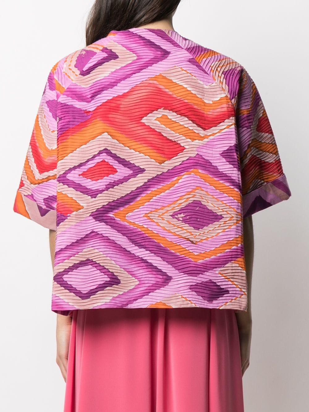 Giacca cropped in cotone rosa con stampa azteca GIANLUCA CAPANNOLO   Giacche   21EG210-100 MINA119761