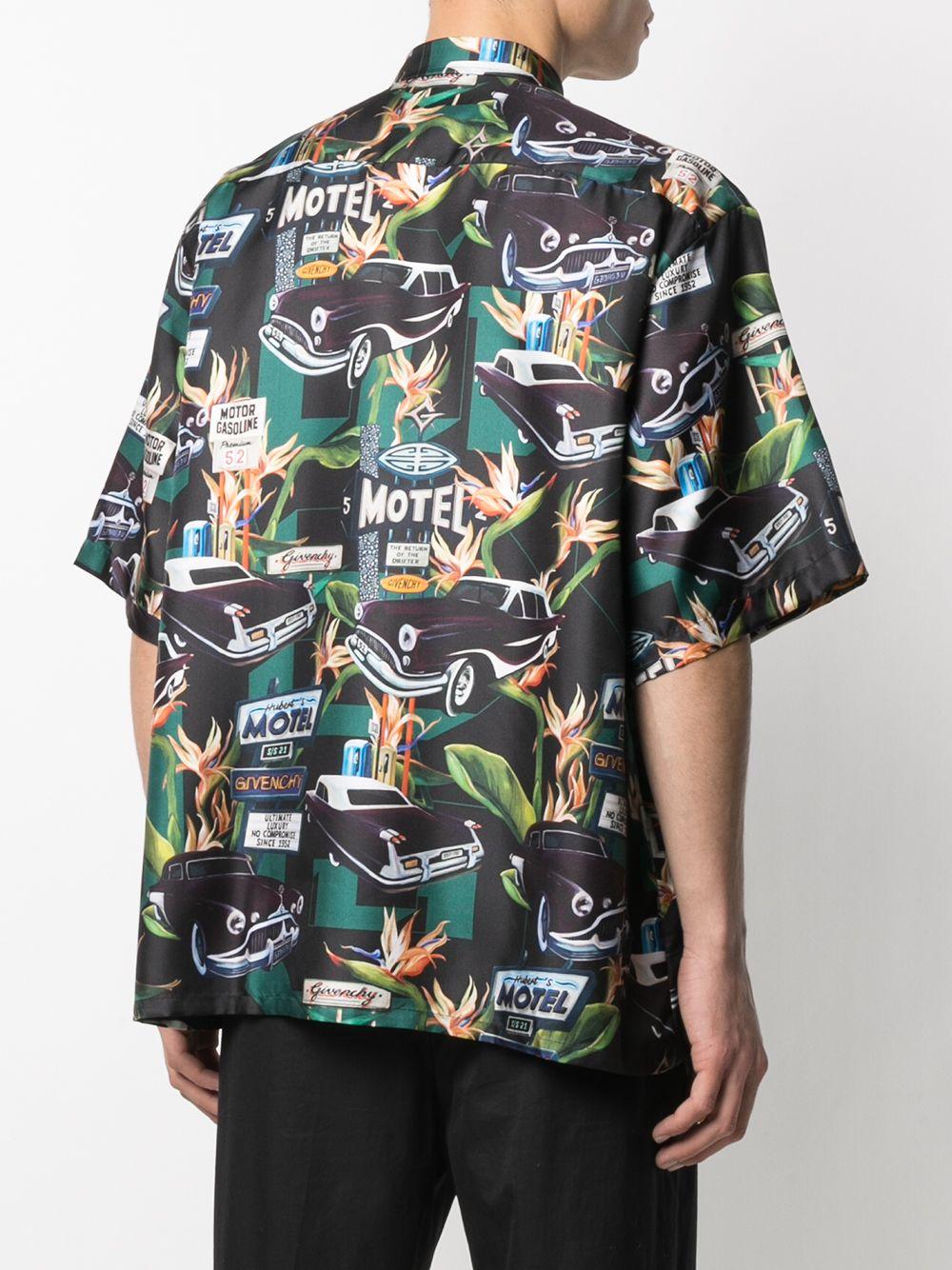 Camicia Motel in seta nera e verde con stampa grafica GIVENCHY | Camicie | BM60NT13K4013