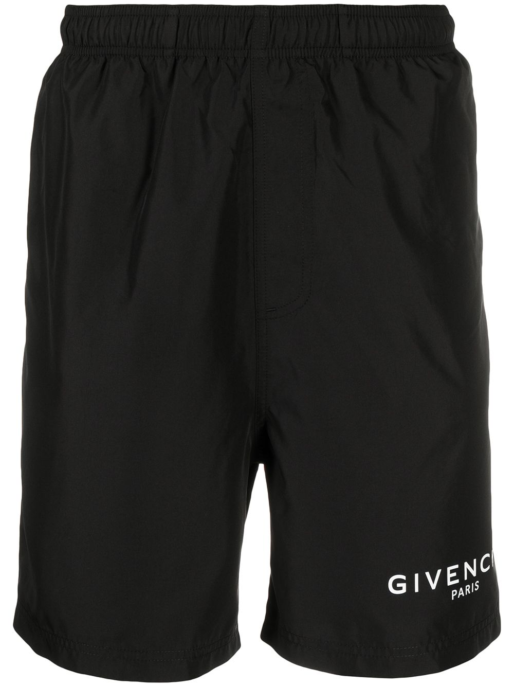 Black swimming trunks featuring elasticated waistband and white Givenchy logo  GIVENCHY |  | BMA00J1Y5N001