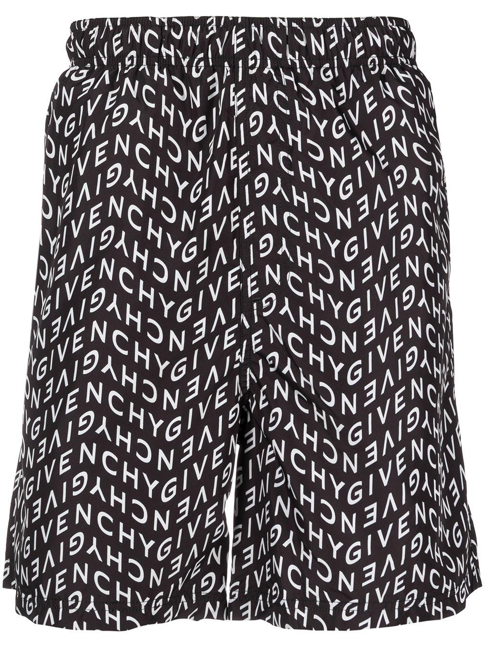 Costume da bagno nero e bianco con logo lettering Givenchy all over GIVENCHY | Costumi | BMA00J1Y9A004