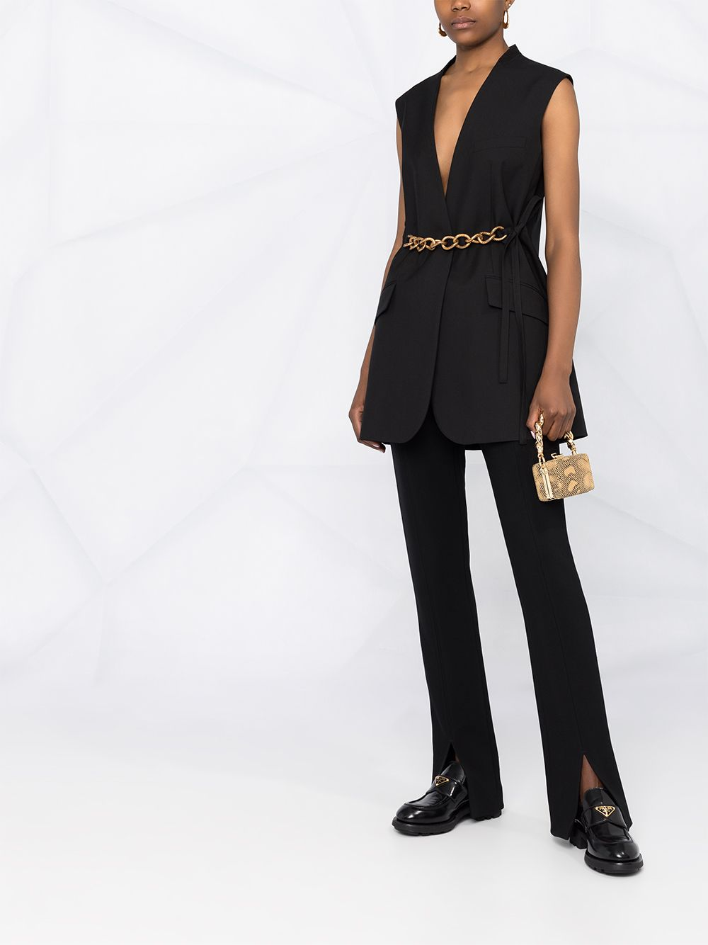 Gilet in lana nera con cintura a catena color oro GIVENCHY | Giacche | BW30CH12JF001