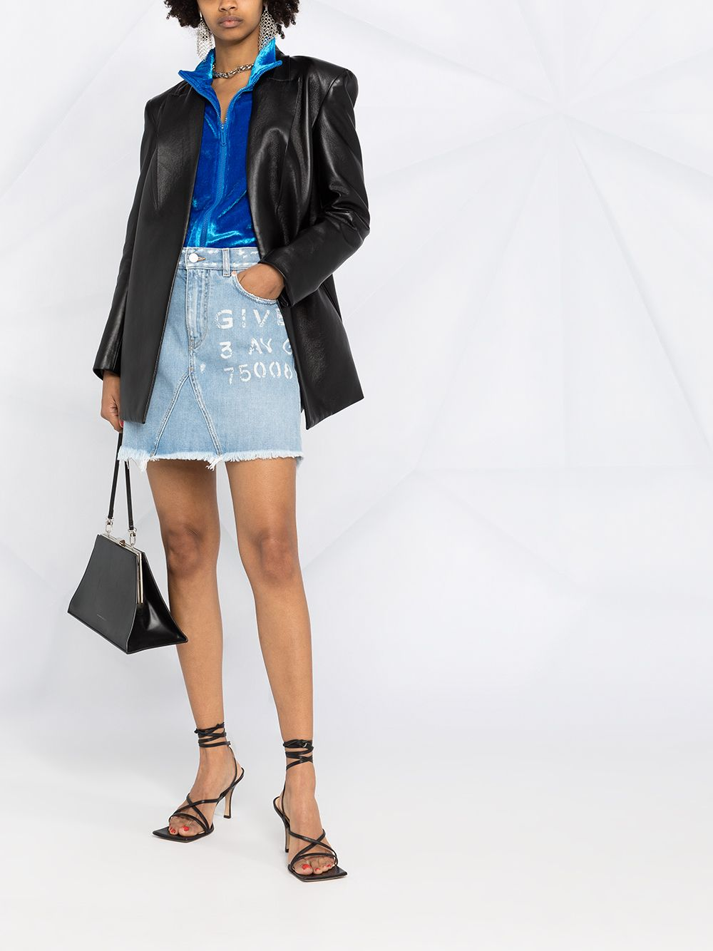 Light blue denim skirt featuring Givenchy logo print  GIVENCHY |  | BW40GL50D1452
