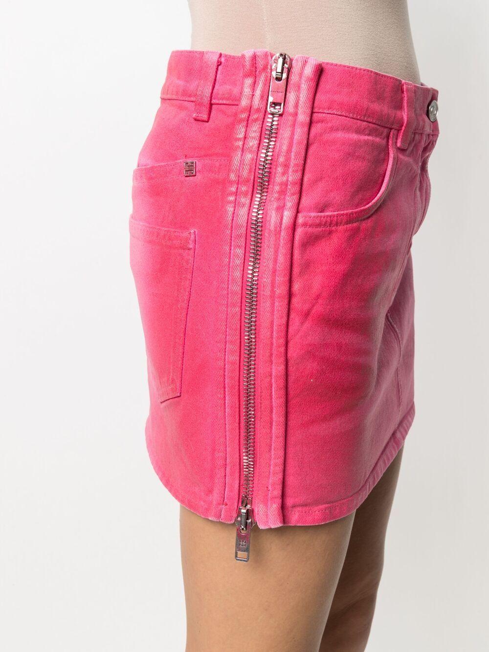 Minigonna in denim di cotone rosa GIVENCHY | Gonne | BW40GW50MC650