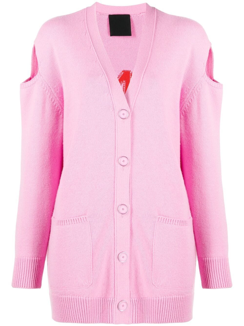 Cardigan in lana e cashmere rosa e rosso con logo Givenchy ricamato GIVENCHY | Cardigan | BW90CN4Z9L910