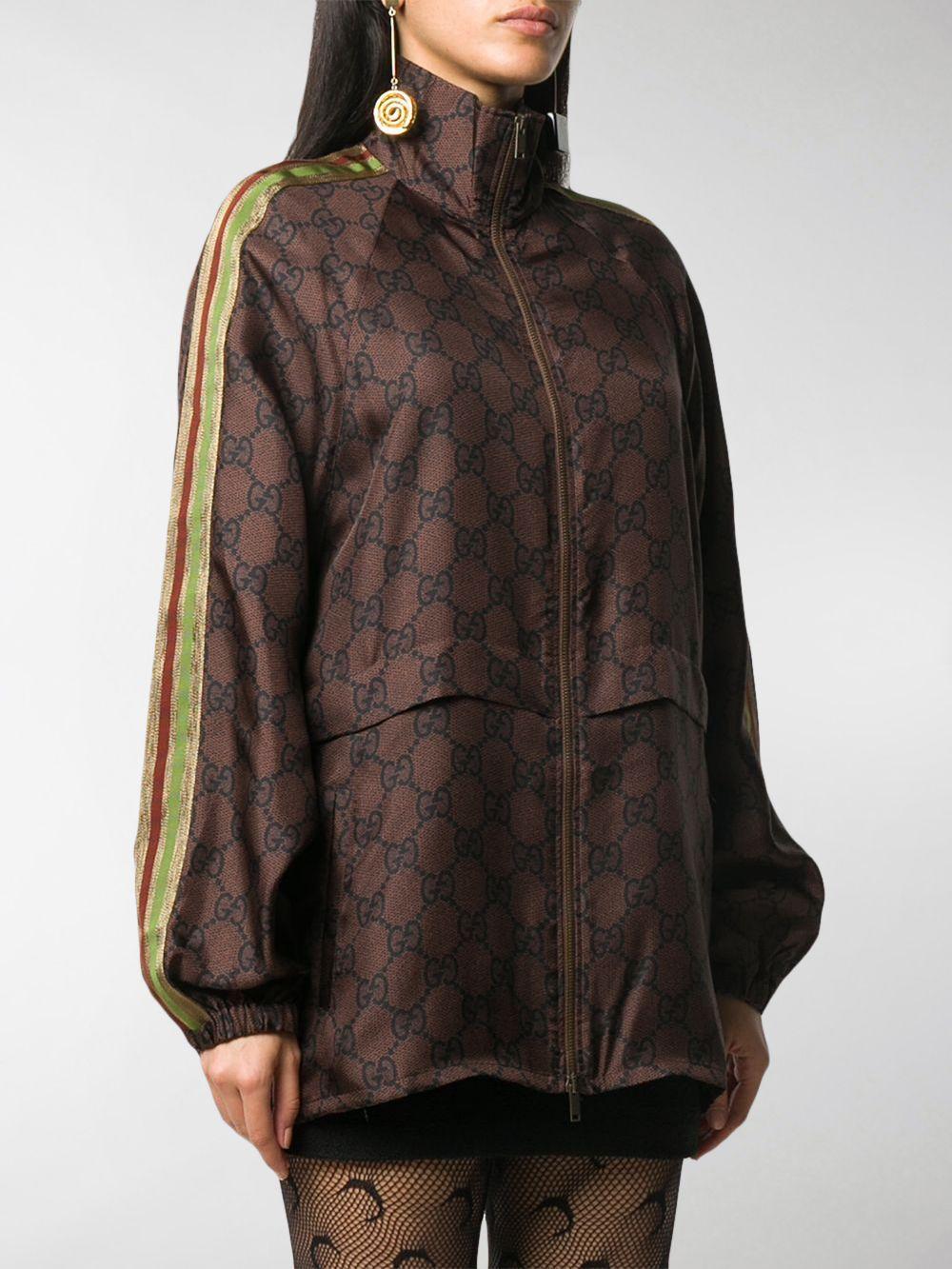 Giacca con zip in seta organica marrone con stampa del monogram Gucci GG Supreme GUCCI | Giacche | 625007-XJCL52138